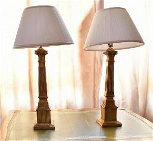 A PAIR OF ITALIAN GILTWOOD CANDLESTICKS with lamp