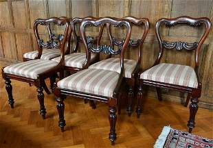 A SET OF SIX VICTORIAN ROSEWOOD SINGLE CHAIRS with