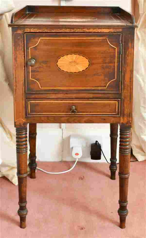 A MAHOGANY BEDSIDE CUPBOARD with drawer and panel door,