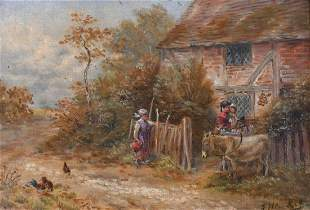 19th Century English School, figures and a donkey