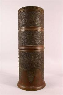 A LARGE JAPANESE CYLINDRICAL BRONZE RELIEF VASE, with