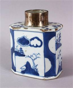 A CHINESE BLUE & WHITE PORCELAIN CADDY WITH A WHITE