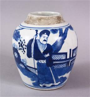 A CHINESE BLUE & WHITE PORCELAIN JAR , decorated with