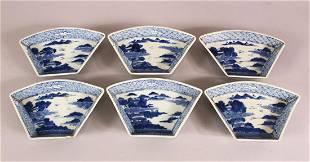 SET OF SIX 18TH / 19TH CENTURY BLUE & WHITE PORCELAIN