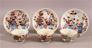 A MIXED LOT OF THREE CHINESE IMARI TEA BOWLS & SAUCERS