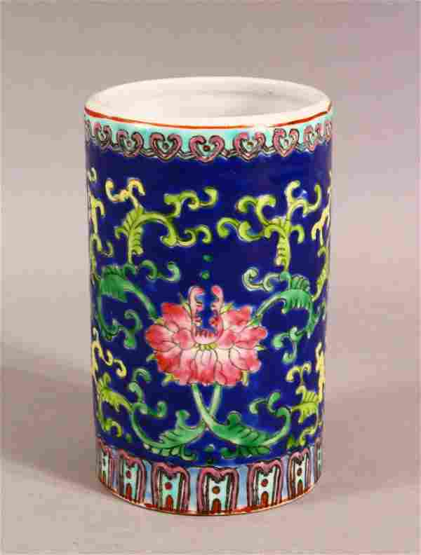 A CHINESE REPUBLIC STYLE FAMILLE ROSE PORCELAIN BRUSH