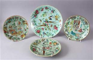 4 X 19TH CENTURY CHINESE CELADON FAMILLE ROSE PORCELAIN