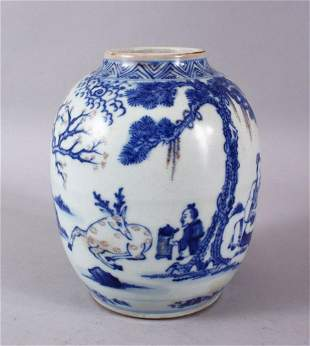 A CHINESE KANGXI STYLE BLUE & WHITE PORCELAIN GINGER