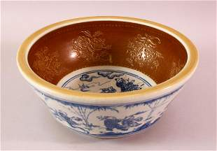 A FINE CHINESE BLUE & WHITE MING STYLE PORCELAIN BOWL -