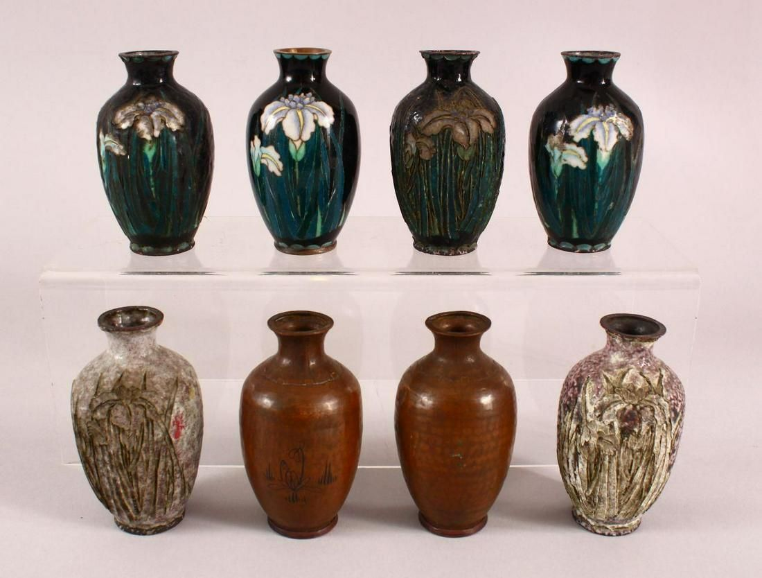 EIGHT VARIOUS SMALL CLOISONNE VASES, (AF), each approx.