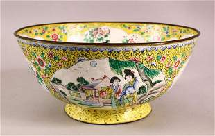 A GOOD CHINESE CANTON ENAMEL BOWL, decorated with