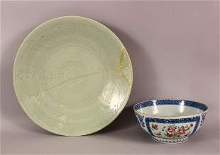 TWO ANTIQUE CHINESE PORCELAIN ITEMS - A Qianlong