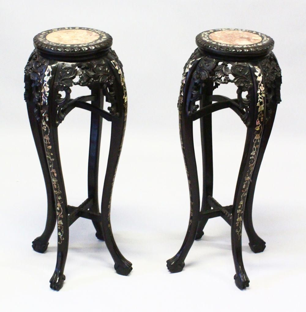 A GOOD PAIR OF LATE 19TH CENTURY CHINESE CARVED