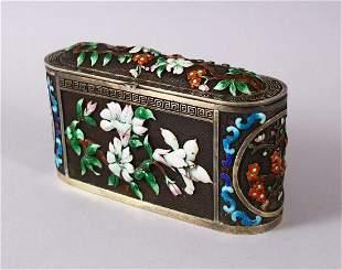 A CHINESE SILVER & ENAMEL LIDDED BOX, with enamel