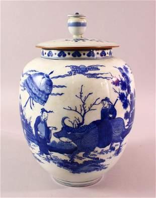 A CHINESE KANGXI STYLE BLUE & WHITE PORCELAIN JAR &