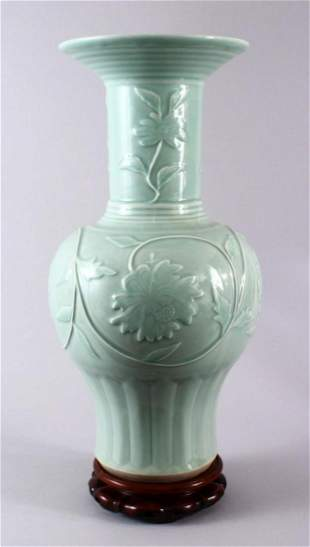 A LARGE CHINESE CELADON PORCELAIN VASE & STAND, the