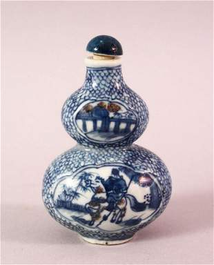 A CHINESE BLUE AND WHITE GOURD SHAPED PORCELAIN SNUFF