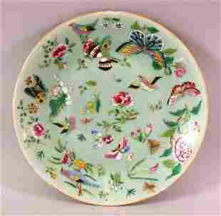 A 19TH CENTURY CHINESE CELADON FAMILLE ROSE PORCELAIN