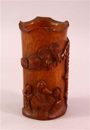 A CHINESE CARVED BAMBOO BRUSH WASH, carved with