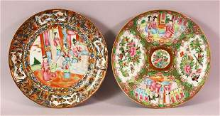TWO CHINESE FAMILLE ROSE CANTON PORCELAIN PLATES, each