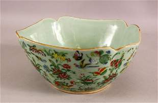 A LARGE 19TH CENTURY CHINESE CELADON FAMILLE ROSE