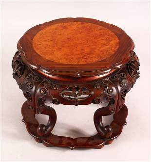 A FINE 19TH CENTURY CHINESE HARDWOOD CARVED STAND -