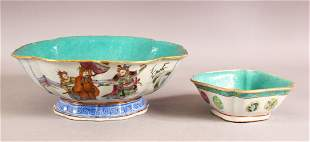 TWO 19TH CENTUYR CHINESE FAMILLE ROSE PORCELAIN BOWLS -