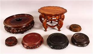 A MIXED LOT OF 7 19TH CENTURY CHINESE CARVED HARDWOOD