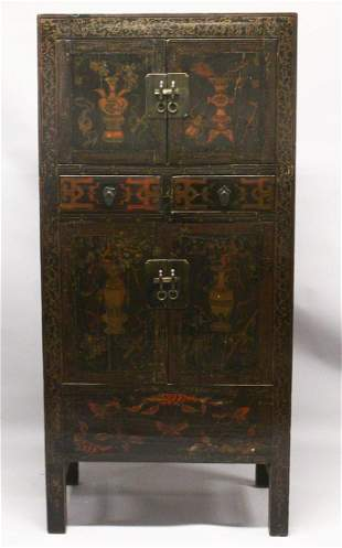 A LATE 18TH CENTURY CHINESE BLACK LACQUER 'HAT CHEST',