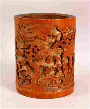 A GOOD CHINESE CARVED BAMBOO BRUSH POT - carved with
