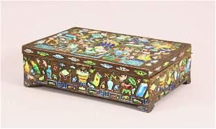 A CHINESE WHITE METAL & ENAMEL LIDDED BOX - the box
