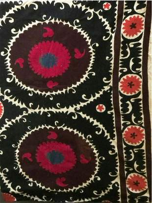 A GOOD LARGE EMBROIDERED COTTON WALL/FLOOR COVERING,