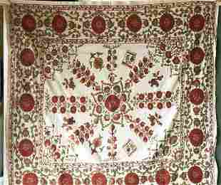 A SUSANI WEDDING DOWRY, 20th Century, with red and