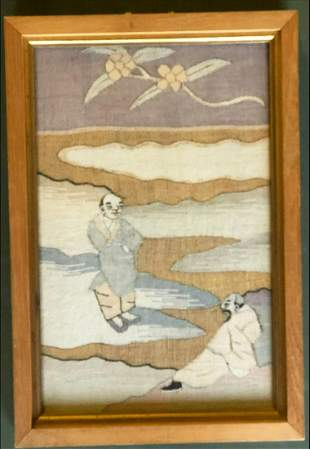 A CHINESE EMBROIDERED PICTURE, depicting two figures -