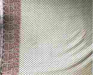 A GOOD LARGE EUROPEAN SILK SHAWL, the patterned cream