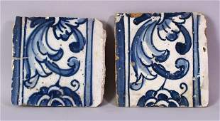TWO 19TH CENTURY PERSIAN POTTERY TILES, painted in blue