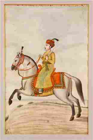 A FRAMED INDIAN MINIATURE PAINTING, painted with a