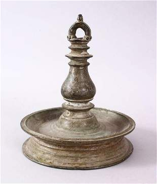 A GOOD INDIAN BRONZE OIL LAMP, Signed and dated to the