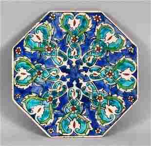 A 19TH CENTURY TURKISH OTTOMAN KUTAHIYA POTTERY TILE,