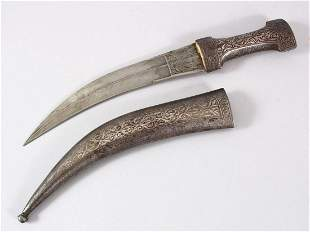 A 19TH CENTURY PERSIAN QAJAR SILVER INLAID STEEL DAGGER