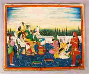 A FINE LARGE INDIAN MINIATURE PAINTING OF SIKH MAHARAJA