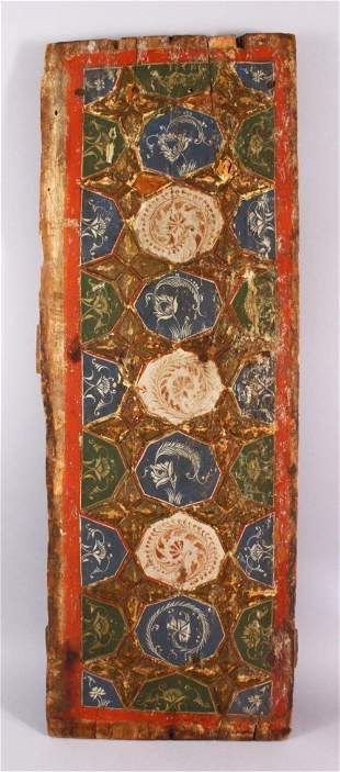 A LARGE 17TH / 18TH CENTURY PERSIAN WOODEN PANEL, with