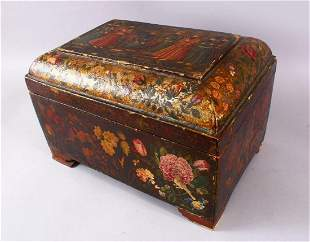 A GOOD PERSIAN QAJAR LACQUER PAINTED LIDDED BOX,