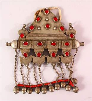 A TURKISH METAL INLAID BRIDES NECKLACE, with inlaid