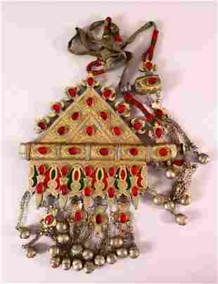 A TURKISH METAL INLAID BRIDES NECKLACE, with gilded