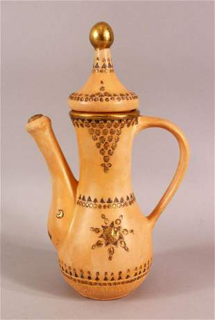 A TURKISH TOPHANE POTTERY COFFEE POT - with carved