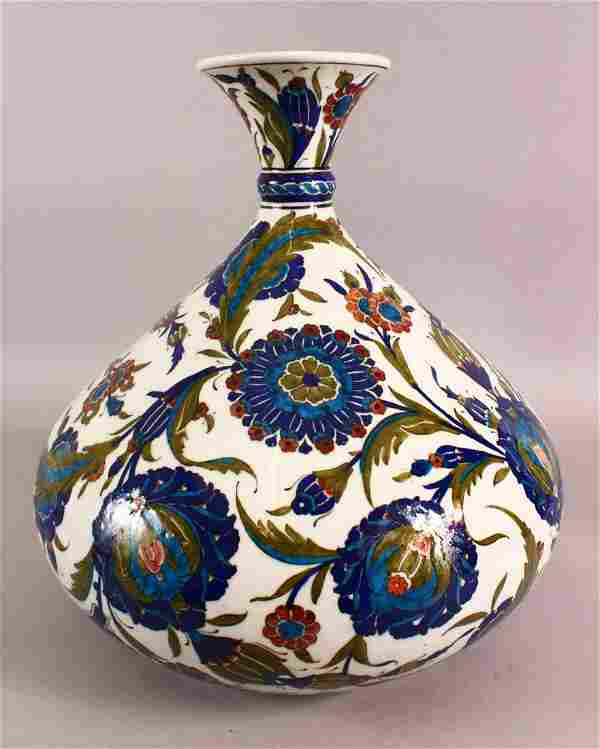 A LARGE FRENCH IZNIK POTTERY VASE - decorated with a