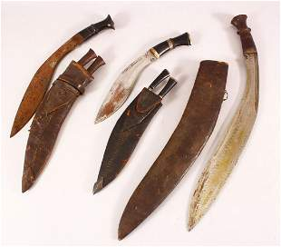 A COLLECTION OF THREE 19TH CENTURY NEPALESE KUKRI