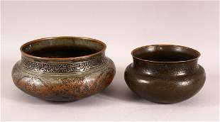 TWO 17TH CENTURY PERSIAN SAFAVID TINNED COPPER BOWLS,
