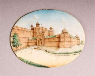 AN INDIAN MINIATURE PAINTED OVAL depicting a fort,